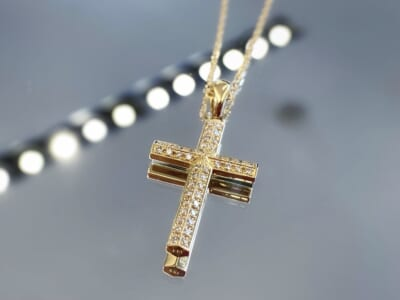 Ridge Cross Medium K18 Yellow Gold w/Diamond