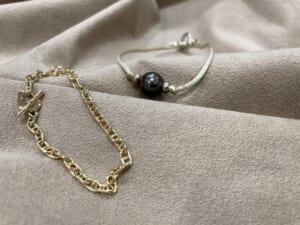スーマンダックワ シンパシーオブソウル ブラックパールコードブレスレット アンカーチェーンブレスレット 木目金 18金 ブレスレット