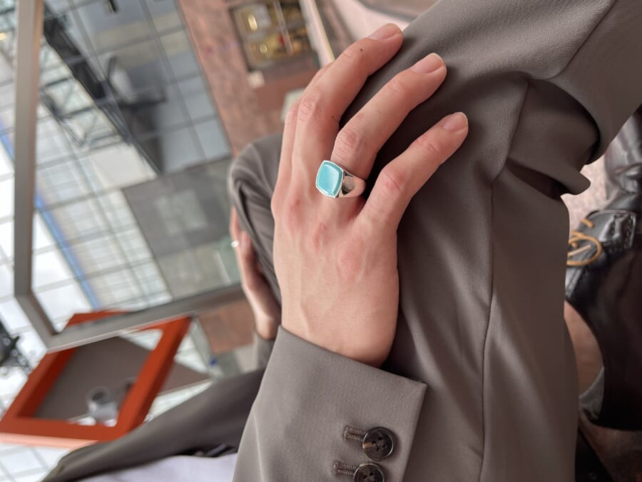 TOMWOOD トムウッド Cushion Turquoise Ring クッションターコイズリング Silver シルバー S.O.S fp ジェイアール京都伊勢丹店