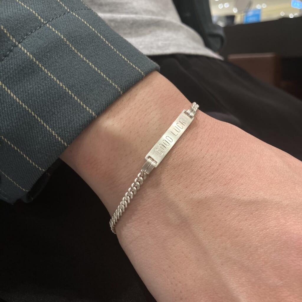 Narrow ID Chain Bracelet GOOD LUCK チェーンブレスレット シルバー B2009S シンパシーオブソウル