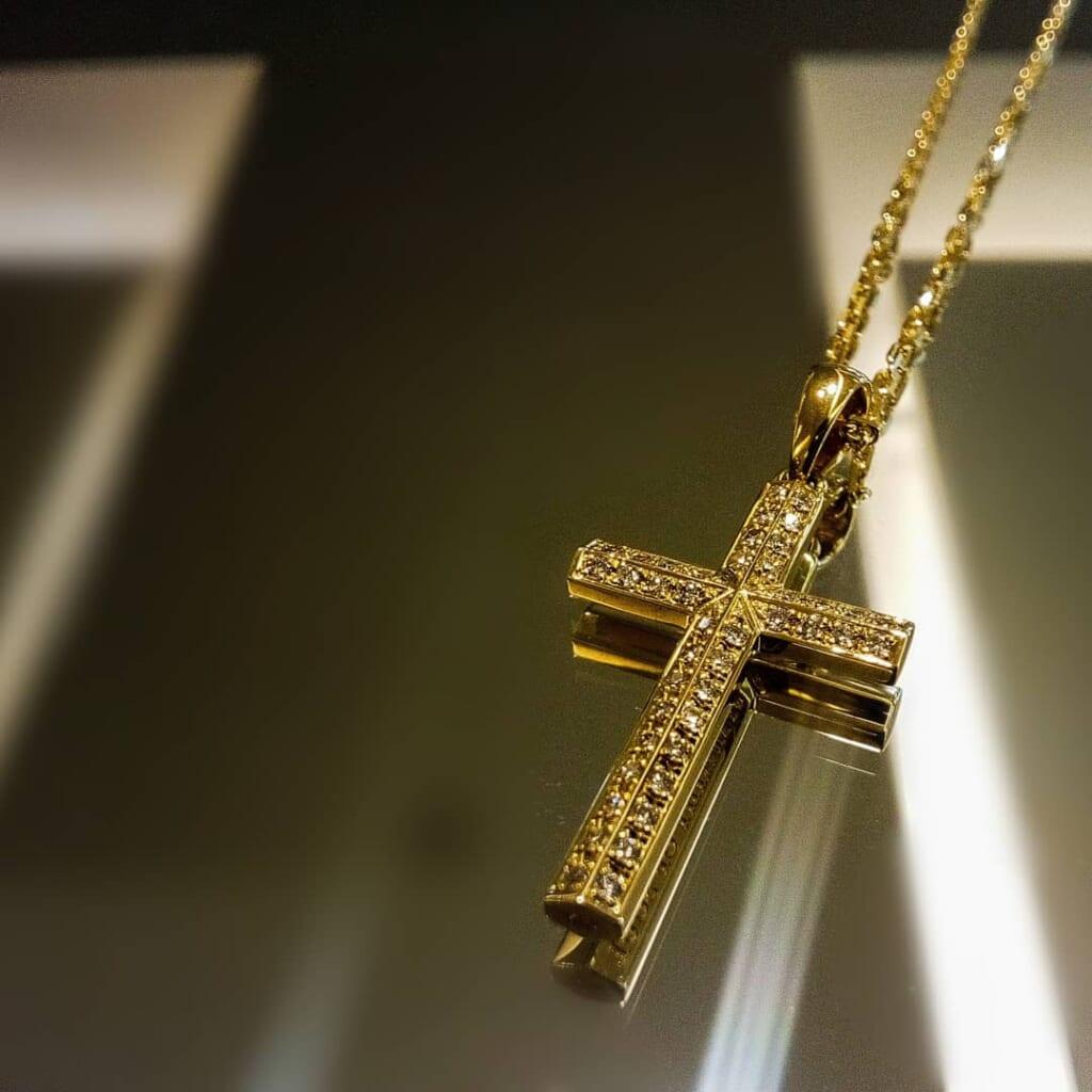 Ridge Cross Medium K18 Yellow Gold w/Diamond