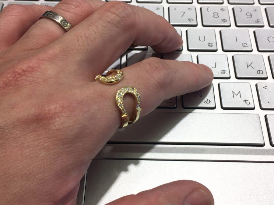 Double Horseshoe Ring K18YG w/Diamond