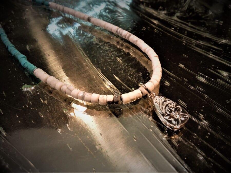Collaboration Beads Necklace wTear Drop Pendant