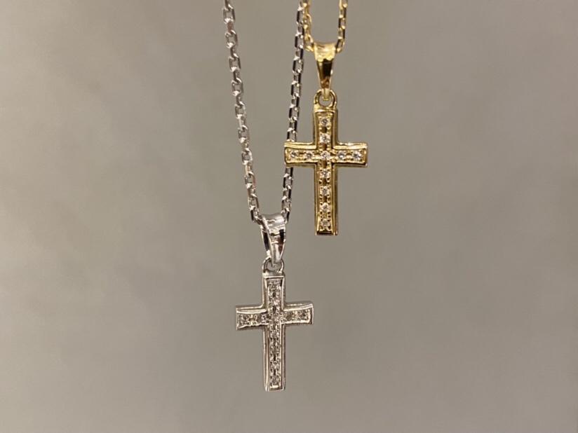 small gravity cross necklace silver K18YG